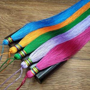 2 unids 33cm Muy largo trenzado borla Joyería de bricolaje Hogar textil cortina prenda decorativa fabricación de encantos colgantes Artesanía borlas H Jlljiy