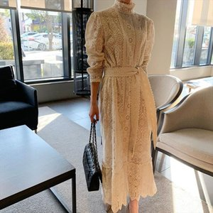 New Lace Runway Dress Women Stand Collar Long Sleeve Dress With Belt Female Vintage Slim Ankle Length Lomg Party Dresses