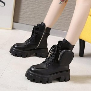 Boots Boots Женские ботинки для мотоциклов PU кожи британский стиль карманные украшения обувь женские ботас Mujer1