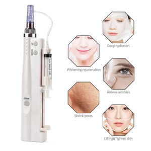 Newest 2 in 1 Skin Revitalizer No Needle Injection water mesotherapy gun injector nano derma pen face wrinkle removal DHL Free Shipping