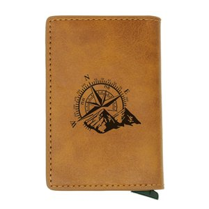 Antique Unique Personality Compass Rfid Credit Card Holder Anti-Theft Automatic Wallet Card Case Men Mini Leather Male Purse
