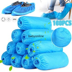 100 Pcs Disposable Shoe Covers Indoor Cleaning Floor Non-Woven Fabric Overshoes Boot Non-slip Odor-proof Galosh Prevent Wet Shoes Covers