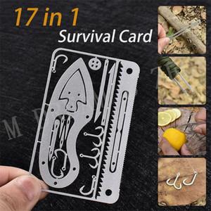 17 em 1 Cartão de Sobrevivência Portátil Ao Ar Livre Multifunction Ferramenta Cartão de Caça Sobrevivência Acampamento Militar Cartão de Crédito Faca Gancho Gancho de Pesca
