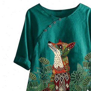 Cotton And Linen Animal Print Women Blouses Plus Size Vintage Fox Printed Short Sleeve Kimono Casual Loose Top Woman Blusa