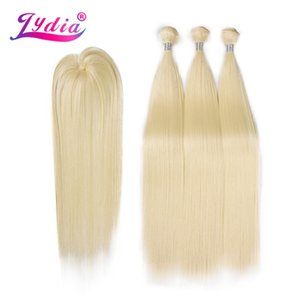 Lydia Synthetic Yaki Straight Hair Weave With Double Weft 613# Blonde Hair Bundles 16inch-20inch 4pcs Pack With Free Closure Q1128