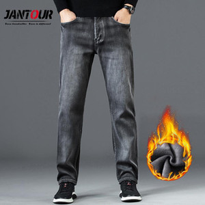 Jantour Winter Fleece Jeans Men Thicken Straight Pants Mens Gray Trousers Casual Loose Denim Vaqueros Hombre Big Size 35 38 40