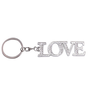 Romantic Diamond Letter KeyChain Pendant Metal Diamond LOVE Keyring Couple Key Chain Pendant Creative Accessories Gifts