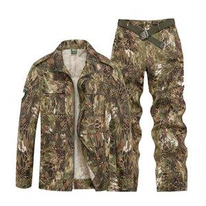 Askeri Üniforma Kamuflaj Ordu Setleri Erkek Taktik Combat CS Çok Cep Çalışma Giysileri Özel Kuvvetler Coat + Pantolon Set Suits