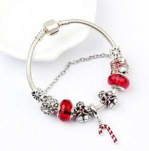 factory direct Amazon DIY glass bead beaded bracelet European USA Christmas hot selling Santa Claus magic wand pendant snake bone bracelets