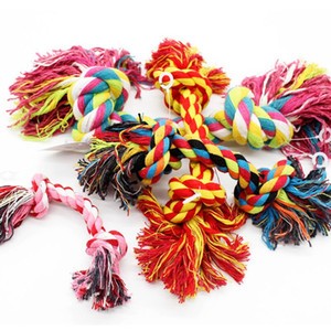 Pets dogs pet supplies Pet Dog Puppy Cotton Chew Knot Toy Durable Braided Bone Rope 15CM Funny Tool (Random Color ) LX4519