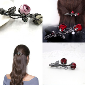 Girls Rose Crystal Rhinestone Hairpin Jewelry Women Fashion Alloy Horsetail Clip Multicolor Hair Accessories New Pattern 4yd J2