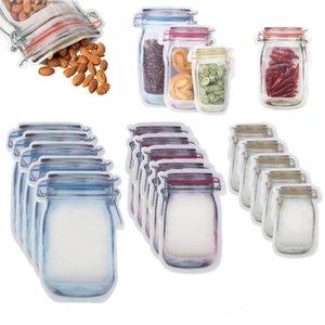 Sacchetti con cerniera di stoccaggio di cibo riutilizzabili Snack a forma di jar di Mason Snack a forma di tenuta ermetica Guarnizione gastronomia Sacchetti di perdita Sacchetti da cucina Cucina Borse da cucina HWF3463