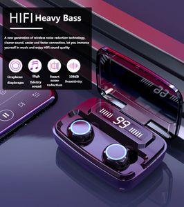 새로운 M11 oringinal 3500mAh LED 블루투스 무선 이어폰 헤드폰 이어폰 TWS 터치 컨트롤 스포츠 헤드셋 HIFI 스테레오 방수