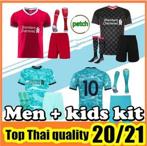 2020 2021 Yetişkin Kiti Futbol Forması Ev Kırmızı Deplasman Mavi Gömlek 20 21 erkek Futbol Üniforma kiti + çorap