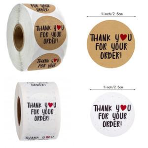 500pcs Kraft Paper Merci pour votre commande Sticker Heart Merci pour Shopping Small Shop Cadeau local Emballage Sticker Papeterie 402 N2