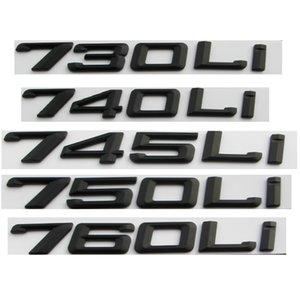 Mat Siyah Numarası Harfler Araba Trunk Rozeti Amblem Amblemler BMW 7 Serisi 745i 740i 750i 730li 735li 740li 750li 745li 760li
