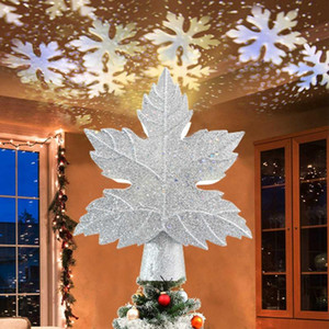 Christmas Tree Topper Hollow 3D Glitter Lighted Star Rotating LED Snowflake Projector Christmas atmosphere Holiday Party Lamp