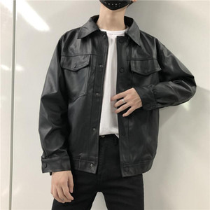 Spring Autumn Mens Black Faux Leather Coat Short Motorcycle Jackets Casual Coats S-2XL S111