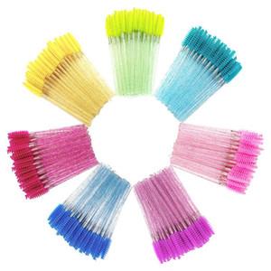 Disposable 50 Pcs Crystal Eyelash Makeup Brush Glitter Handle Mascara Eyebrow Brush Wands Eyelash Extension Tool Good Quality