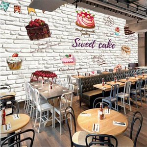 Custom 3D Hand-painted Cake White Brick Wall Background Wallpaper Mural Modern Cake Bakery Shop Industrial Decor Wall Paper 3D