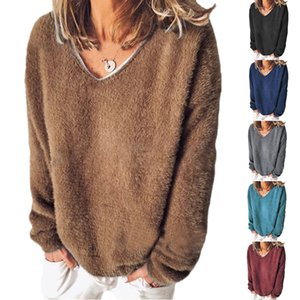 2020 autumn and winter new European and American women's velvet sweater V-neck long-sleeved loose T-shirt sweater