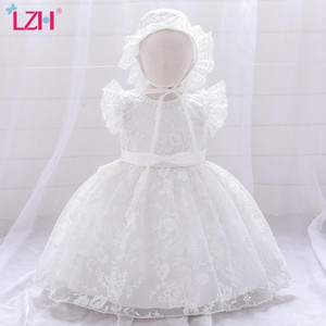 LZH Newborn Clothes 2020 Childrens Princess Dress Solid Color Embroidery Baby 1 Year Birthday Party Dress Infant Girls Dress+Hat
