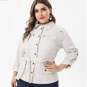 2020 Women Fall Long sleeve Windbreaker fashion ladies Vintage elegant mom clothes Plus Size Womens jacket