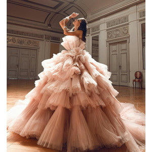 Blush Pink Ball Gown Prom Dresses Strapless Tiered Puffy Tulle Robes Pageant Quinceanera Gowns sweet 16 dresses Custom made