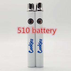 Newest 510 Thread Battery 350mah Preheat Cookies Battery Cookies Vape Pen Battery for Atomizers Electronic Cigarettes Vape Pen Batteries