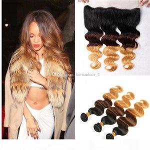 Tres tonos 1b 4 27 Honey Blonde Ombre Brasileño Body Wave Virgin Human Hair Pein Bundles con 13 * 4 Cierre frontal de banda de encaje completo