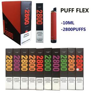 Puff Flex Disposable Device Pod Kit 2800 Puffs 1500mAh Battery 10ml Prefilled Cartridges Empty Vape Pen XXL Max EZZy Stick Onee Vaporizer
