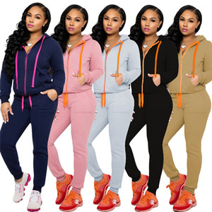 Frauen Trainingsanzug Langarm Reißverschluss Mantel + Leggings Hosen 2 stücke Outfits Solide Farbe Mit Kapuze Hoodies Legging Hosen Hosenanzug E120903
