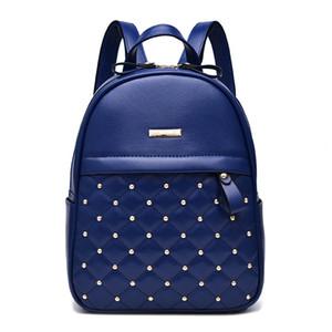 Retro Large Backpack Women PU Leather Rucksack Women's Knapsack Travel Backpacks Handbag School Bags Mochila Blue Color