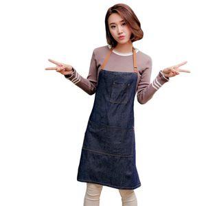 2020 Adjustable Denim Jean Aprons with 3 Pockets for Women Men Chef Barista Bartender Painter in Cooking Kitchen Bistro Cafe