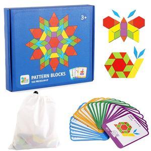 Montessori 155pcs 나무 지 그 소 퍼즐 보드 세트 아이들을위한 다채로운 아기 몬테소리 교육 완구 201218