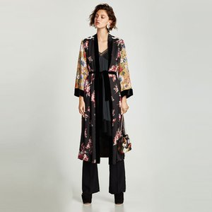 Women Flower Print Kimono Cardigan Blouse Bandage Summer Holiday Beach Cover Up Boho Long Loose Casual Shirts Robe with Belt 201202