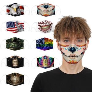 Máscara facial Moda Designer Face Masks Algodão Reutilizável Skull Flag Digital Sports Cosplay Boca Máscara De Poeira Facemaproof FaceMask