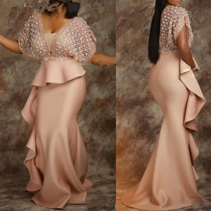 Dubai Arabisch African Mermaid Prom Kleider Tief V-ausschnitt Satin Abendkleid Cocktail Party Sweep Train Formale Kleid Abend Party Wear Ogstuff