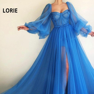 LORIE Blue Prom Dresses Long Puffy Sleeve Tulle Backless Formal Evening Party Gowns Beauty Pageant Dresses Custom Made 201119
