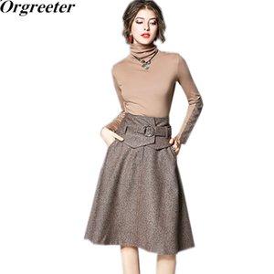 Orgreeter Runway Designer Spring Новых Женщины Tweed Лоскутная Наборы женской водолазка блузка и A-линия юбка OL костюма