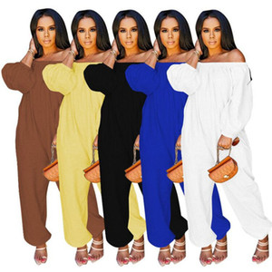 Women Designer Off-Shoulder Overall Jumpsuits Brand Loose Rompers long sleeve onesie fall winter one piece pants casual playsuits 3945