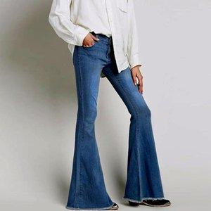 2020 Vintage Low Waist Elastic Flare Jeans Women Retro Style Bell Bottom Skinny Jeans Female Dark Blue Wide Leg Denim Pants S009