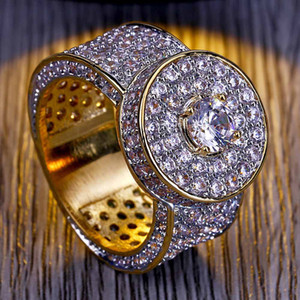 Men's Classic Big Gold Ring Zircon Hip-hop Ring with Real Gold Electroplating Hot Selling In Europe and America