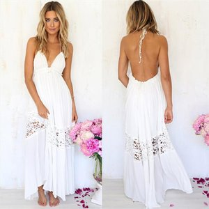 Summer Sexy Long Maxi Elegant Party Casual White Lace Dress Women Sleeveless Sexy V Neck Long Dresses
