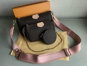 Nuevas mujeres favoritas de cuero genuino de la moda bolsos de la moda de múltiples pochette accesorios monederos Mini Pochette 3pcs Bolsa de hombros de la bolsa de cruz