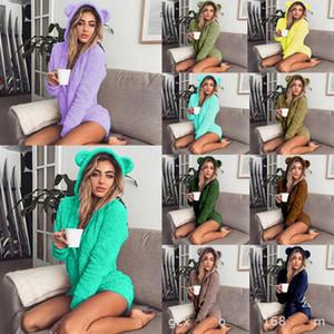 Winter Women Jumpsuits Soft Fleece Homewear Manga Longa Shorts Sleepwear Bonito Capuz Macacões Onesies 17 Color Sólido Senhoras Quente Jumpsuit DHL