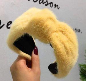 Invierno grueso peludo hairbands cálido ancho de piel de imitación de peluche de peluche bisel cordero lana banda de pelo mujer jllxst infante2005