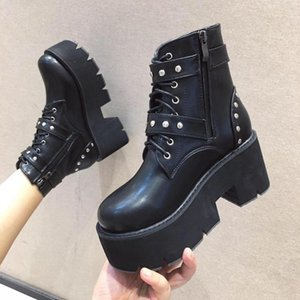 BOUSSAC Black Punk Lace Up Platform Boots Mujeres Redondos Toe Remaches Hebilla Botas de tobillo para Mujeres Goth