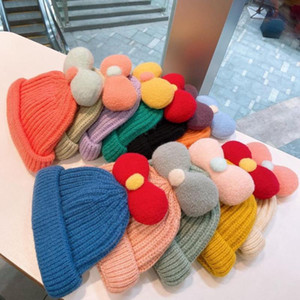 Autumn and winter child sweet and cute bow knitted woolen hat student candy color warm wild melon hat Beanie Skull Hats for Kids