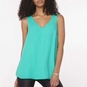 Sexy Sleeveless Backless V neck Chiffon Blouse Female Summer Fashion Solid Color Vest Tops Casual Loose Shirts Plus Size S 6XL